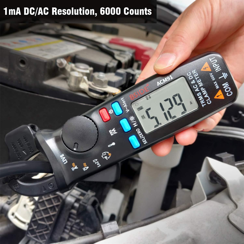 BSIDE ACM91 Medidor de abrazadera digital de 1 mA AC//DC Corriente real RMS auto rango 6000 contador de temperatura Hz capacitancia Live Check V-Alert comprobador de voltaje de baja impedancia