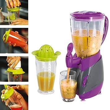 Prensa frutas, cítricos y coctelera 3 en 1 + licuadora con grifo decantador gris/púrpura: Amazon.es: Hogar