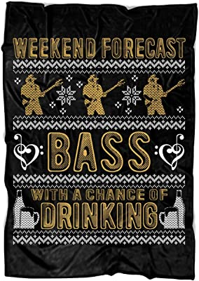 """UTAMUGS Weekend Forecast Bass Soft Fleece Throw Blanket, Drinking Fleece Luxury Blanket (Medium Fleece Blanket (60""""x50"""") - Black)"""