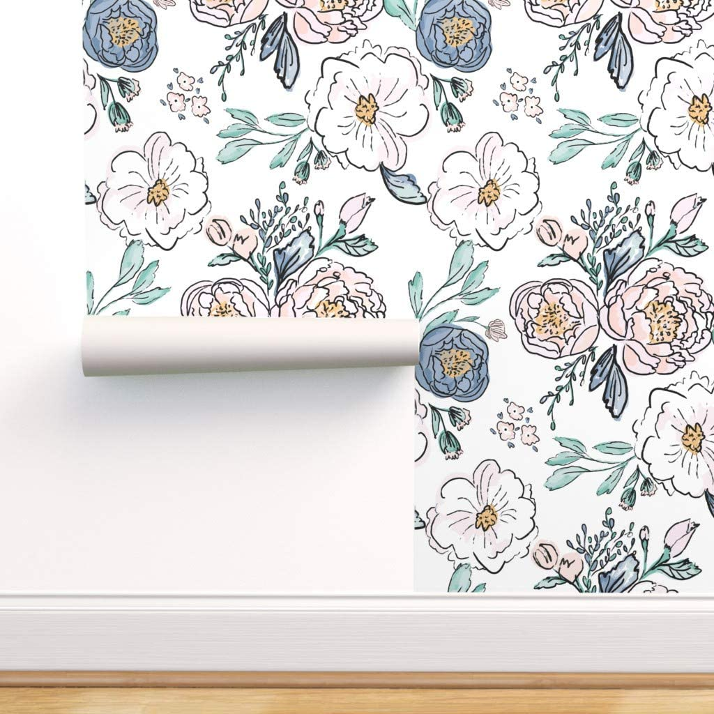 Spoonflower Peel And Stick Removable Wallpaper Floral Vintage
