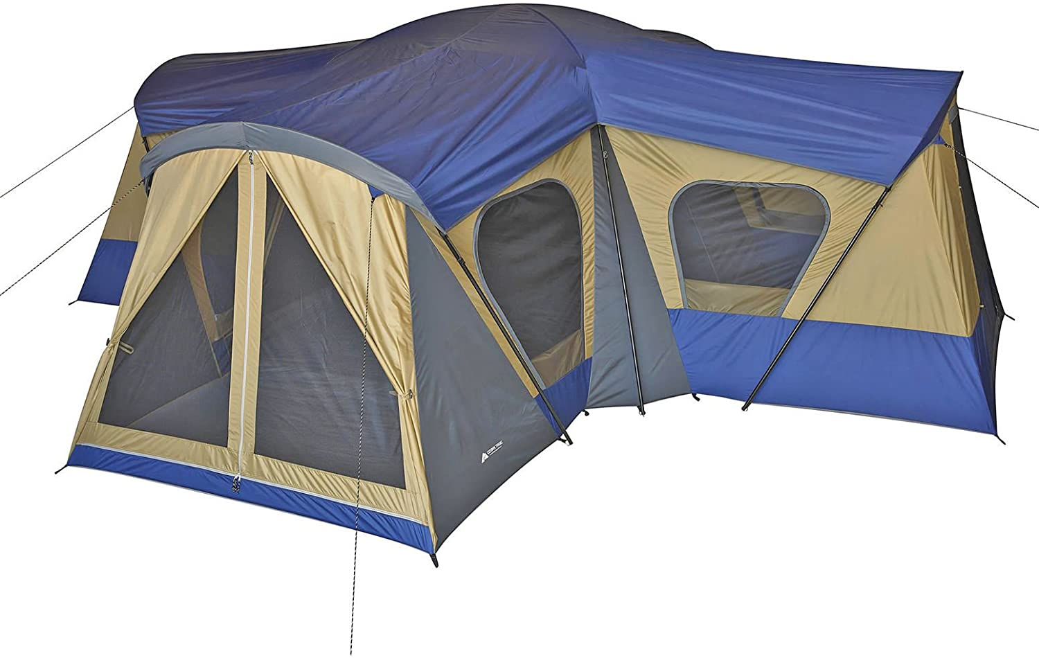 Image of a huge tent in blue and gold color, with screen door and windows, four compartments.