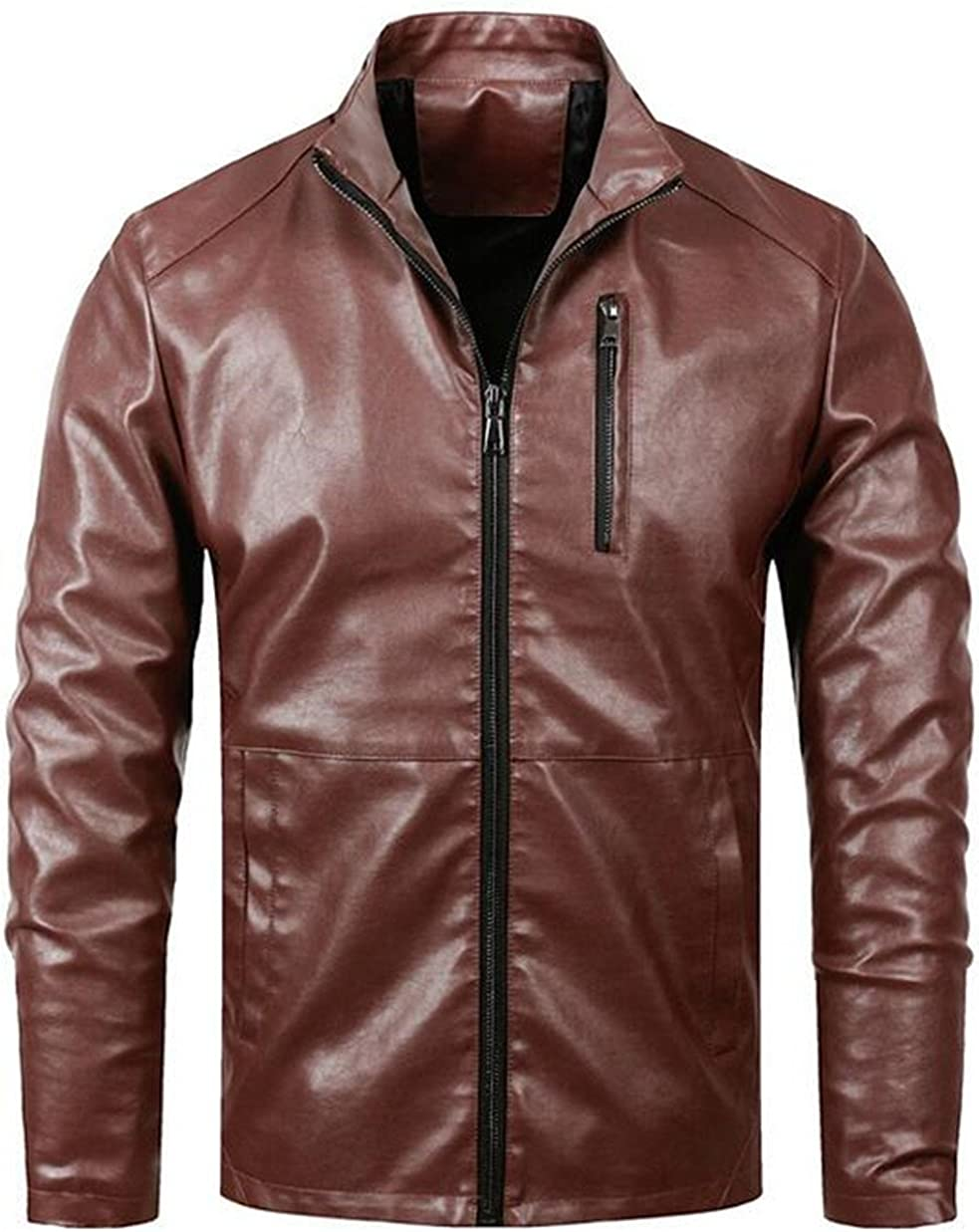 Jinmen Mens Motorcycle Slim Stand Collar PU Leather Jackets