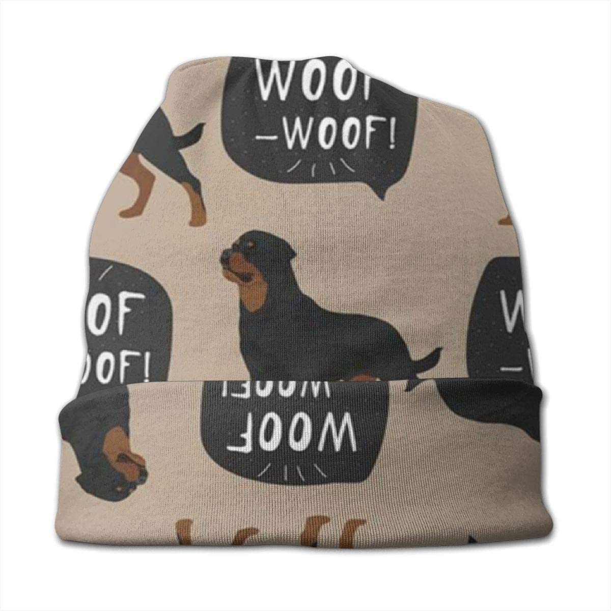 Dog Rottweiler Colorful Animals Wildlife Face KidS Winter Warm Knit Hats Stretchy Soft Beanie Hat Skull Cap For Boys Girls