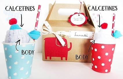 Idea Regalo Original para Recién Nacidos | Caja con Dos Helados (2 Body Algodón de