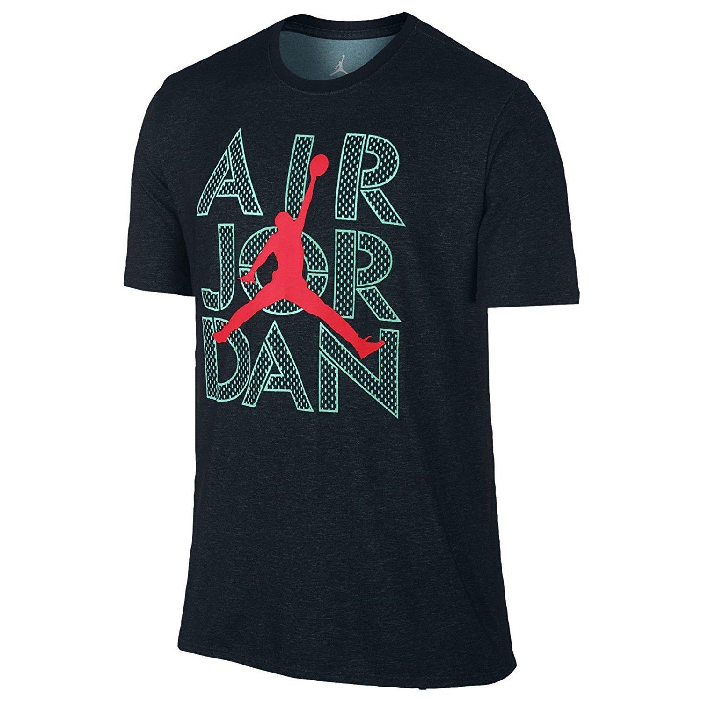 Jordan Men's AJ Stencil Dri-FIT T-Shirt Medium Black Hyper Turquoise Infrared