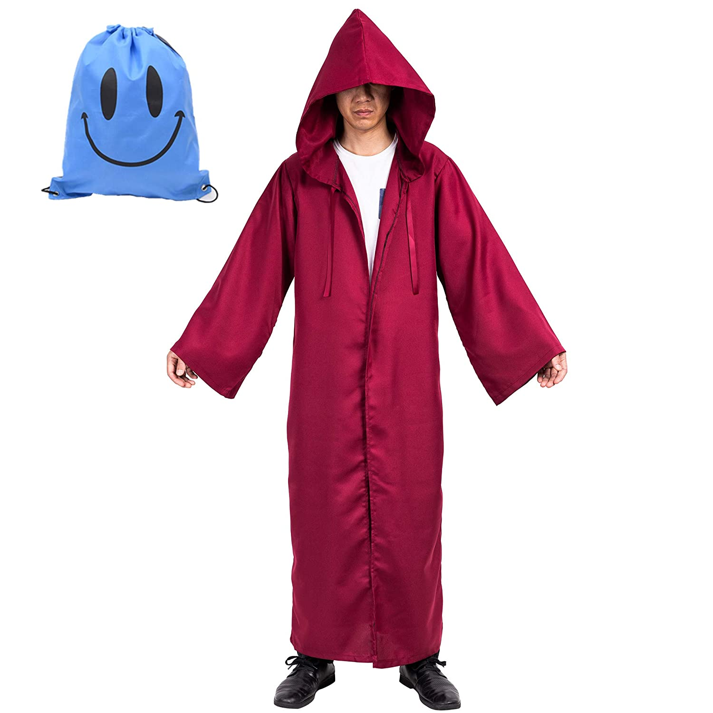Myir Capa con Capucha de Halloween para Hombre, Disfraz de Caballero para Adulto Carnaval Medieval Traje Ropa Cosplay (XL, Marrón)