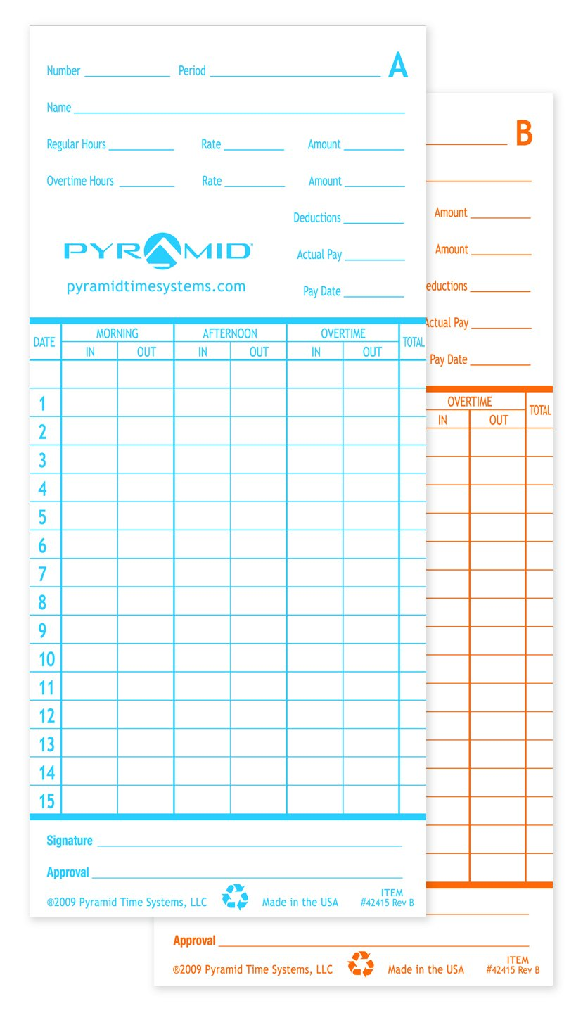 Pyramid 42415MB 1,000 Count  Genuine Time Cards for 2600 and 2650 Time Clocks - English Time Clock