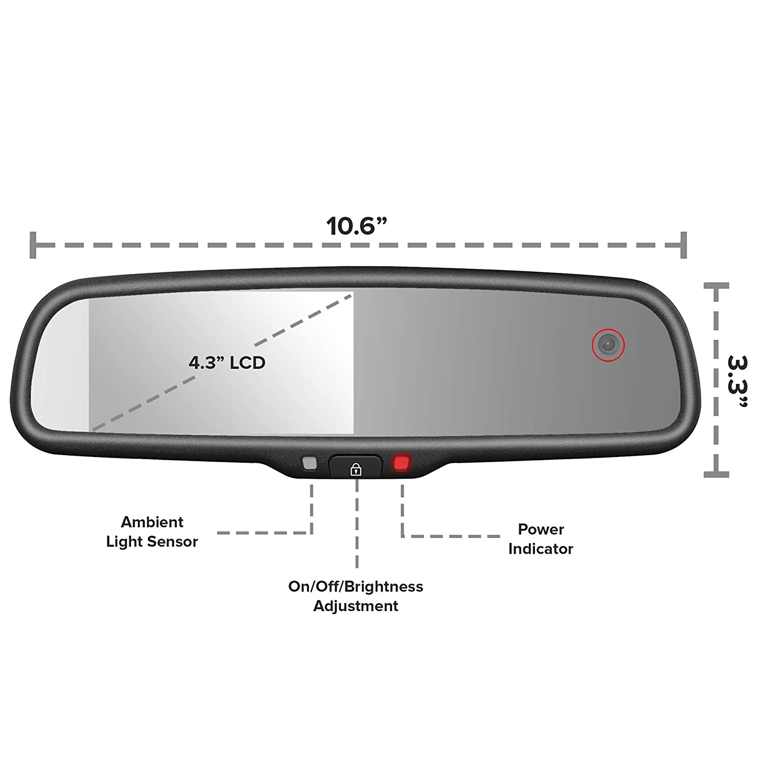 WiFi app CMR-43-E2DVR3 Records Forward and Inside Cabin Passengers Master Tailgaters Rear View Mirror with Dual Camera HD DVR Dash Cam with Microphone
