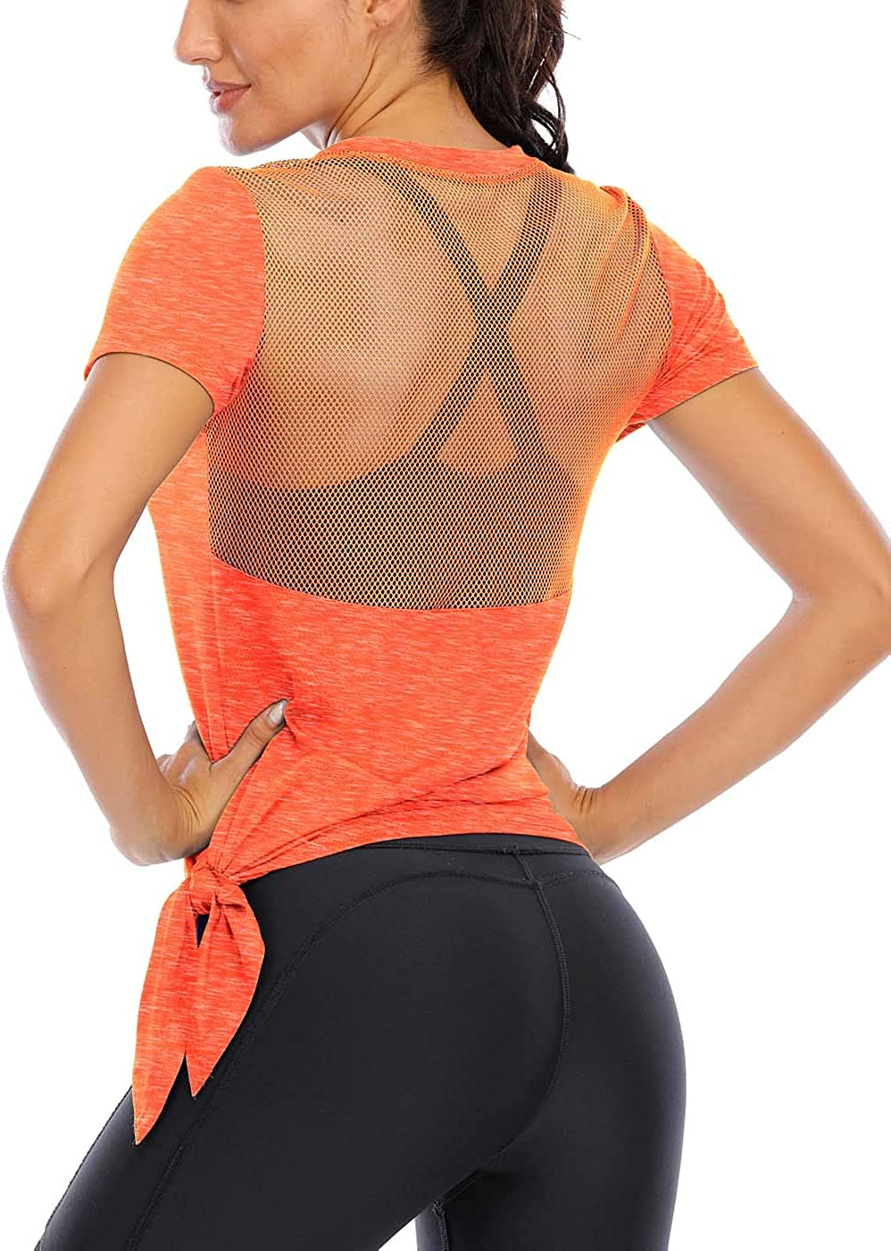 Fihapyli Womens Workout Tops Short Sleeve Mesh Back Side Tie Workout Tank Tops