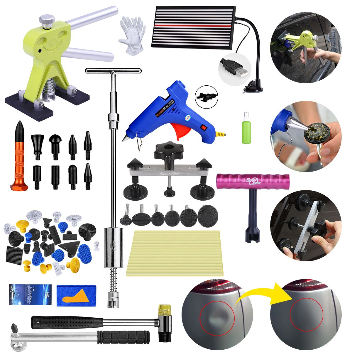 Fly5D 56pcs Repair Tools Kit Metal Glue Dent Puller Set
