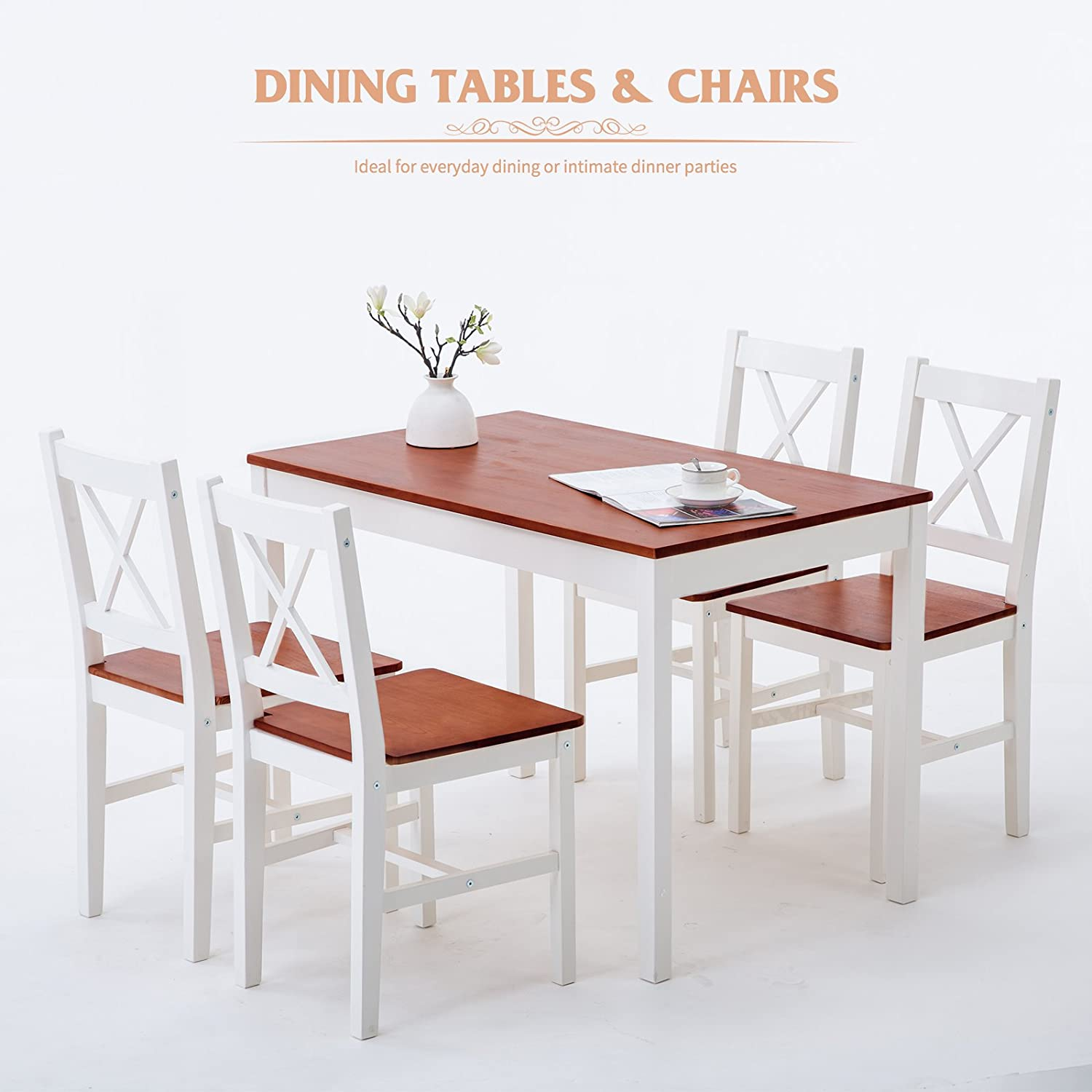 Amazon.com   Mecor 5 Piece Kitchen Dining Table Set, 4 Wood Chairs Dinette Table  Kitchen Room Furniture (Red X Back)   Table U0026 Chair Sets