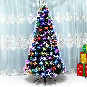 Pre-Bed Artificial Christmas Tree, Premium Hinged Spruce Optical Fiber Tree Auto-Spread with Multicolor Led Lights Top Star-a 180cm(71inch)