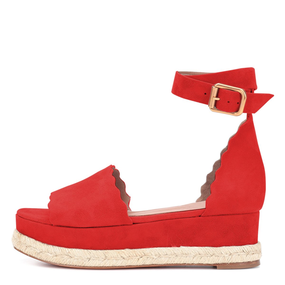 YDN Women Espadrille Peep Toe Ankle Straps Platform Wedge Sandals Low Heels Platform Straps Shoes with Buckle B07DCPCHNH 12 M US|Red 7e6984