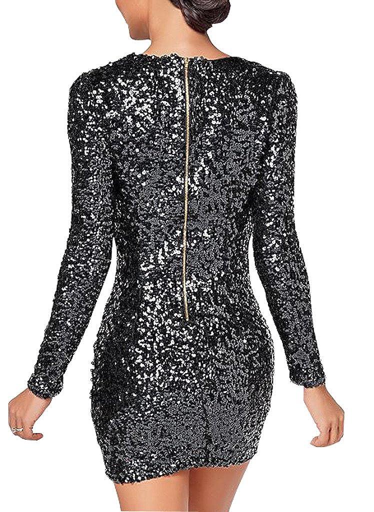 flowerry Women Black Sequin Dress Evening Party Short Length Prom Dress