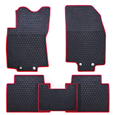 Ucaskin Car Floor Mats Custom Fit for Nissan Rogue 2014 2015 2016 2020 2020 2020 2020 Odorless Washable Rubber Anti-Slip All Weather Protection Car Floor Liner-Red: Automotive