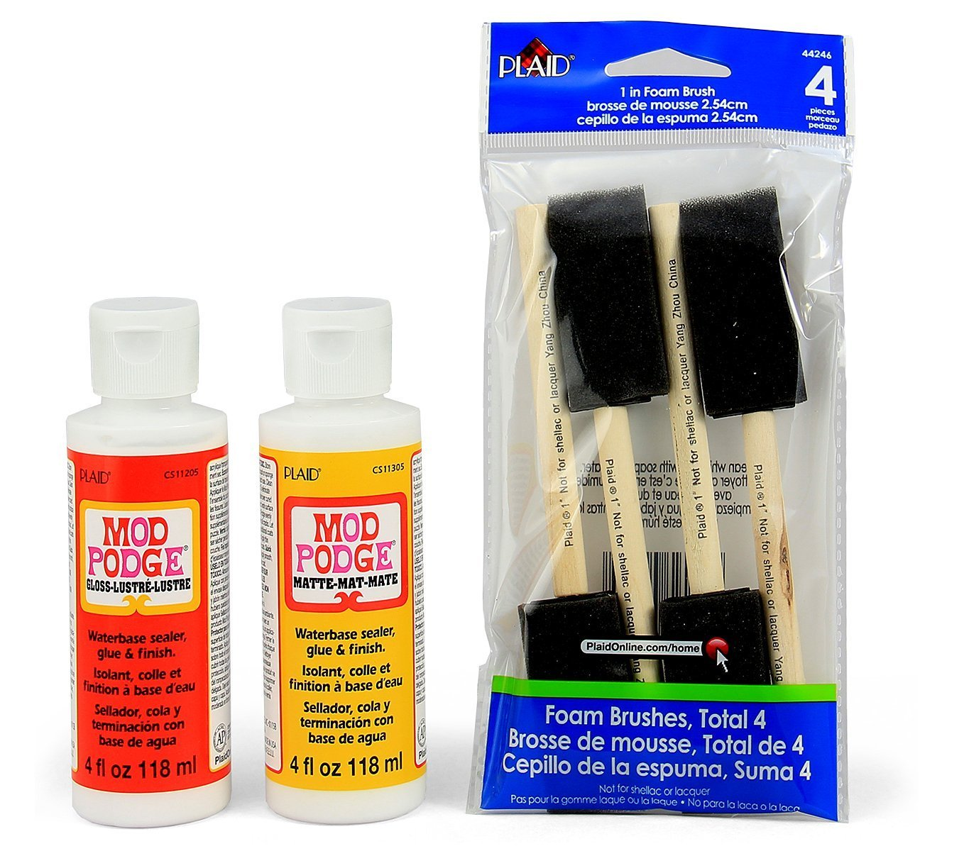 Mod podge matte and gloss with 4 foam brushes for application of glue medium