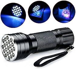 PAWACA UV linterna de luz negra, 21 LED Luz negra ultravioleta LED Detector de luz para perro gato orina Manchas de mascotas, chinches, escorpiones, maquinaria fugas inspección