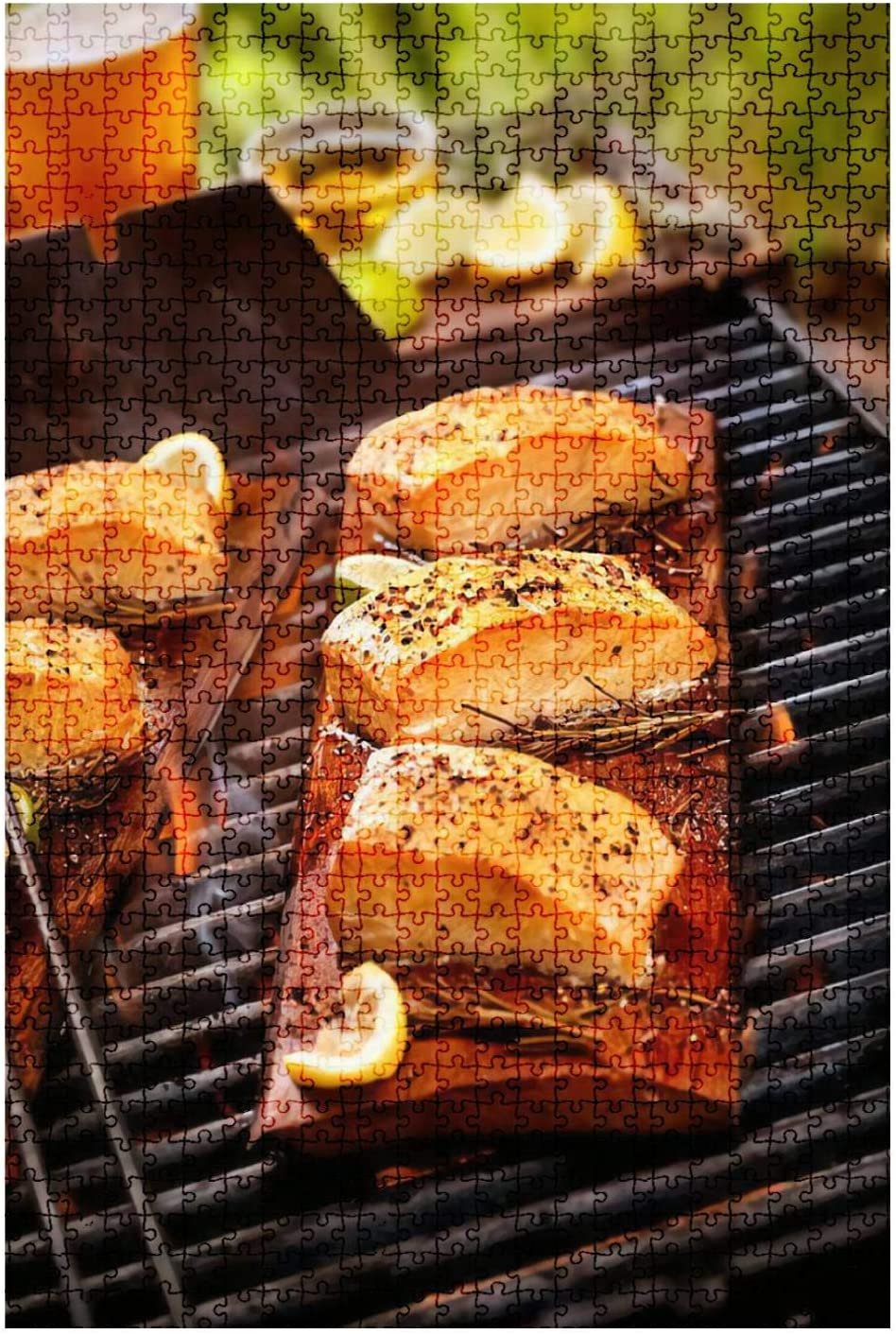 Wooden Jigsaw Puzzle Game Cedar Plank Salmon fillets on an Outdoor BBQ Seafood Stock Pictures 1000 Pieces for Adult Children DIY Toys
