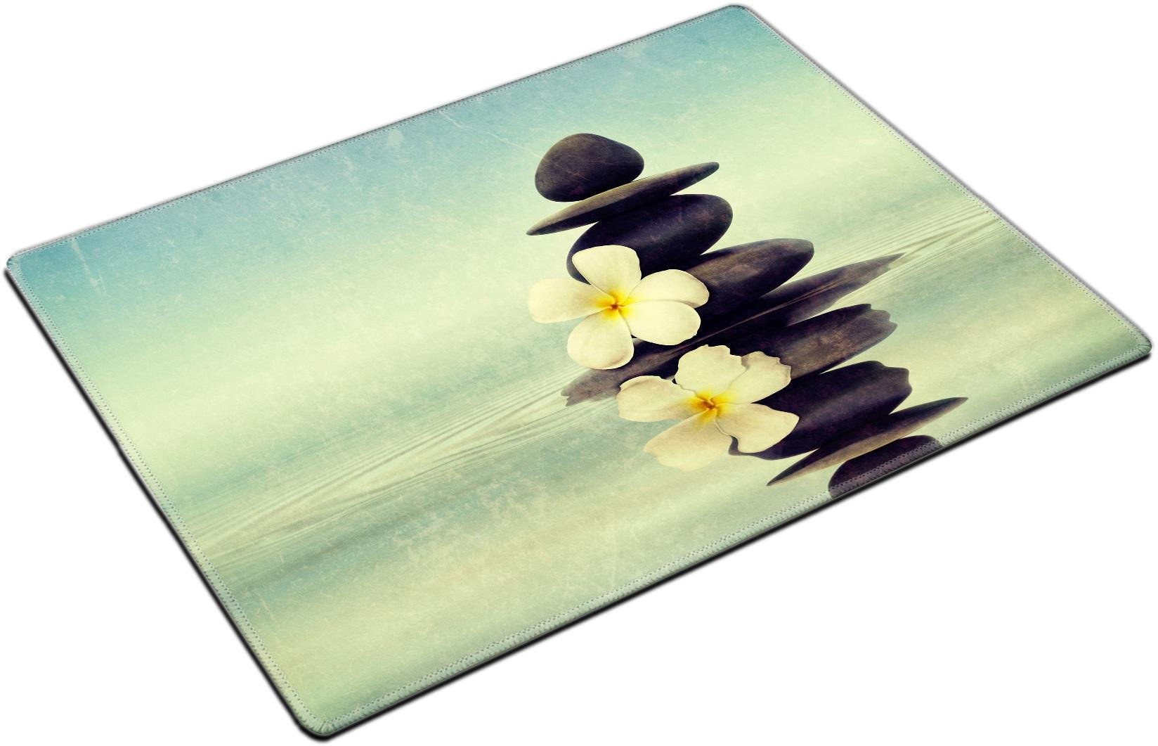 MSD Place Mat Non-Slip Natural Rubber Desk Pads Design: 27847859 Vintage Retro Hipster Style Travel Image of Zen Spa Concept Background Zen Massage Stones with Frangipani