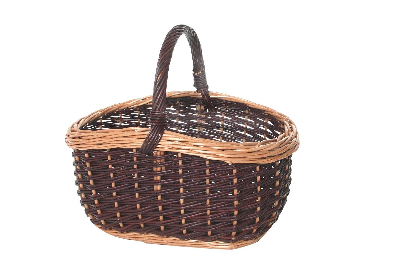 Kobolo Weidenkorb Einkaufskorb handgeflochten aus Weide mit Henkel 46x36x41 cm