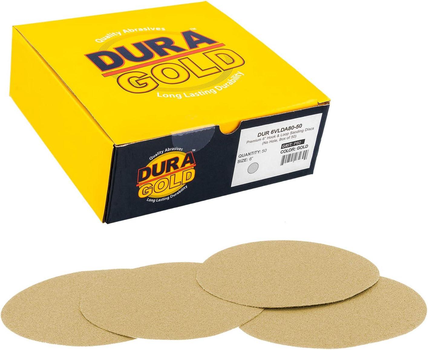 "Dura-Gold - Premium - 80 Grit 6"" Gold Hook & Loop No Hole Sanding Discs for DA Sanders - Box of 50 Sandpaper Finishing Discs for Automotive and Woodworking 71BzLuKebrL"