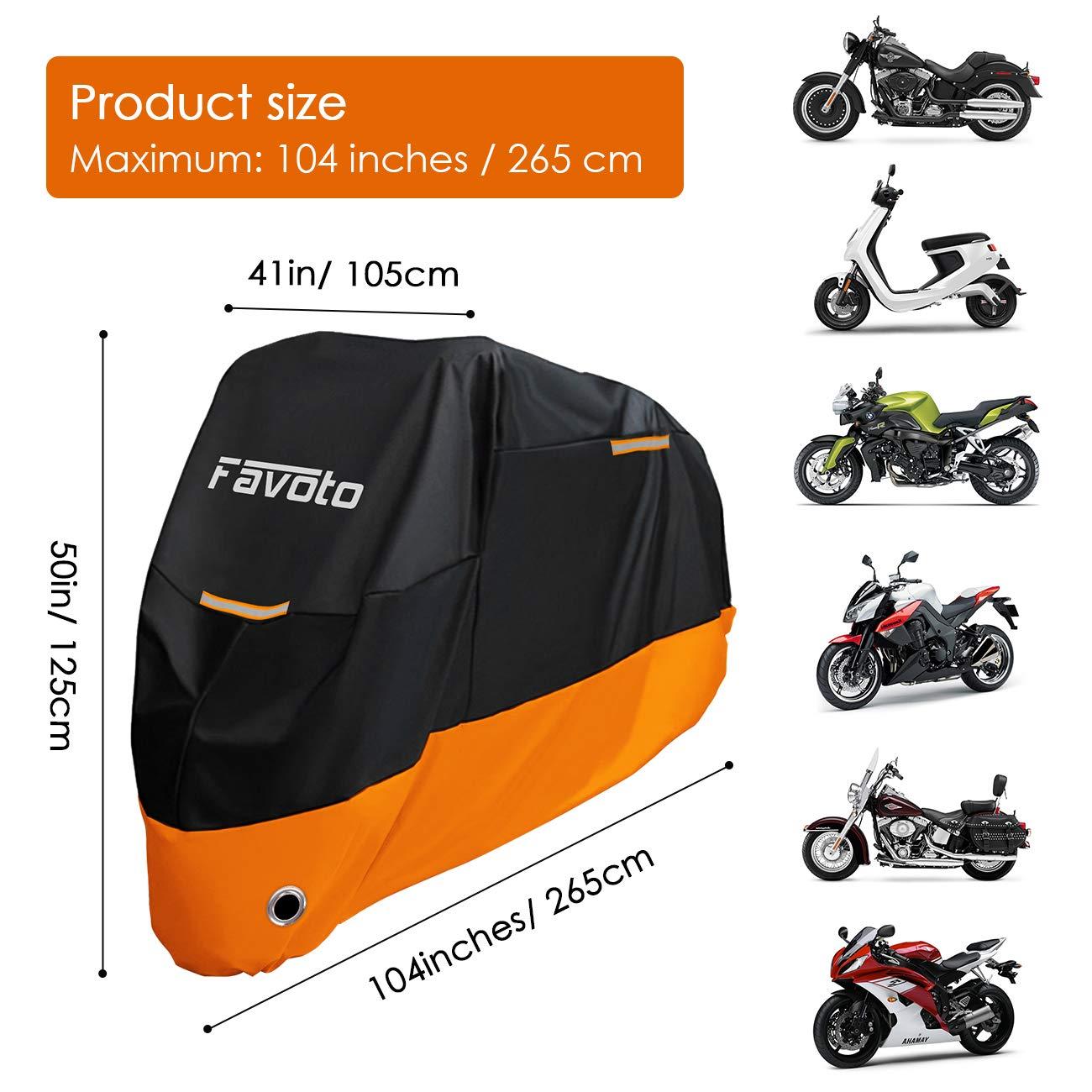 01b55b1f48f Favoto Funda para Moto 210D Cubierta de Motocicleta Protector Poli/é ster  Resistente al Agua a Prueba de UV Lluvia Polvo ...