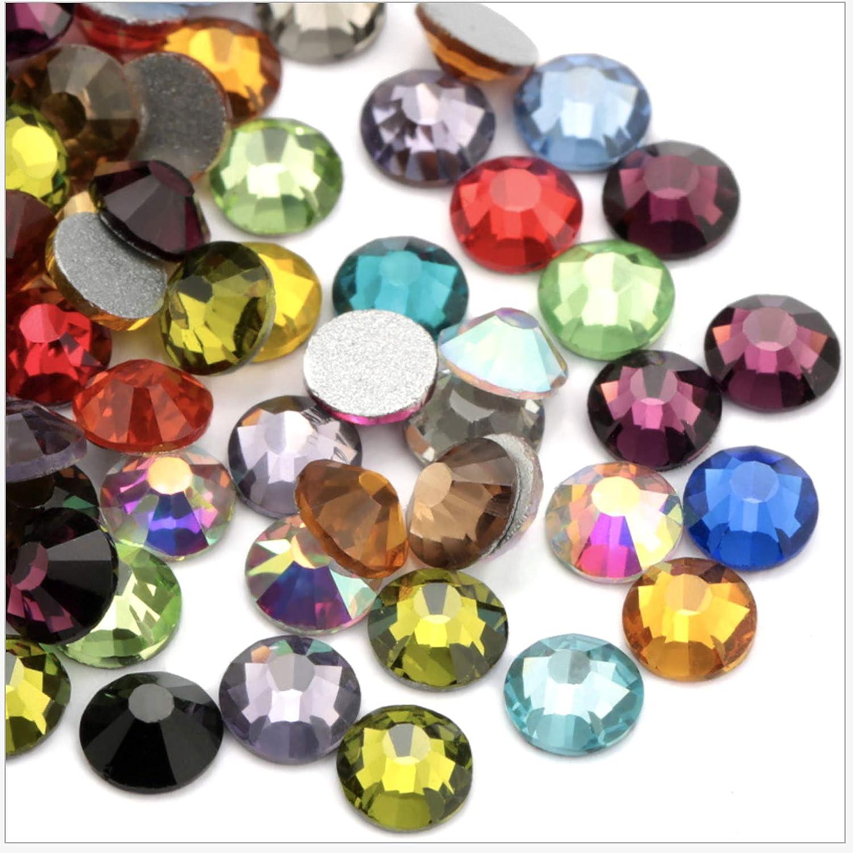 2.7mm 1440 pcs, Fuchsia ss10 Crystal AB//Crystal Flatback Glass Rhinestones Glue Fix