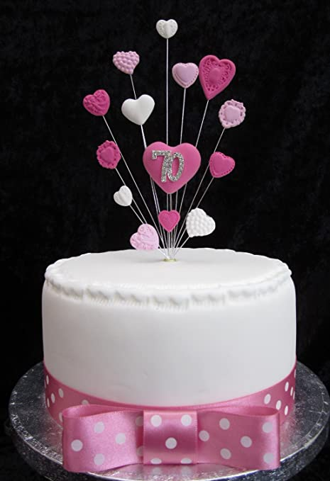 70th Birthday Cake Topper Pinks And White Hearts Suitable For A Small Or Cupcake