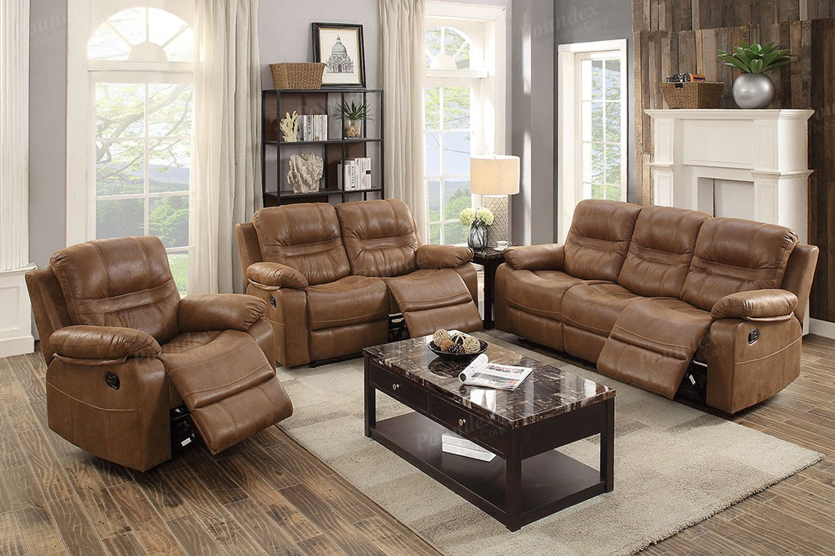 Amazon com 3pcs dark brown leather motion sofa loveseat chair recliner set for living room kitchen dining