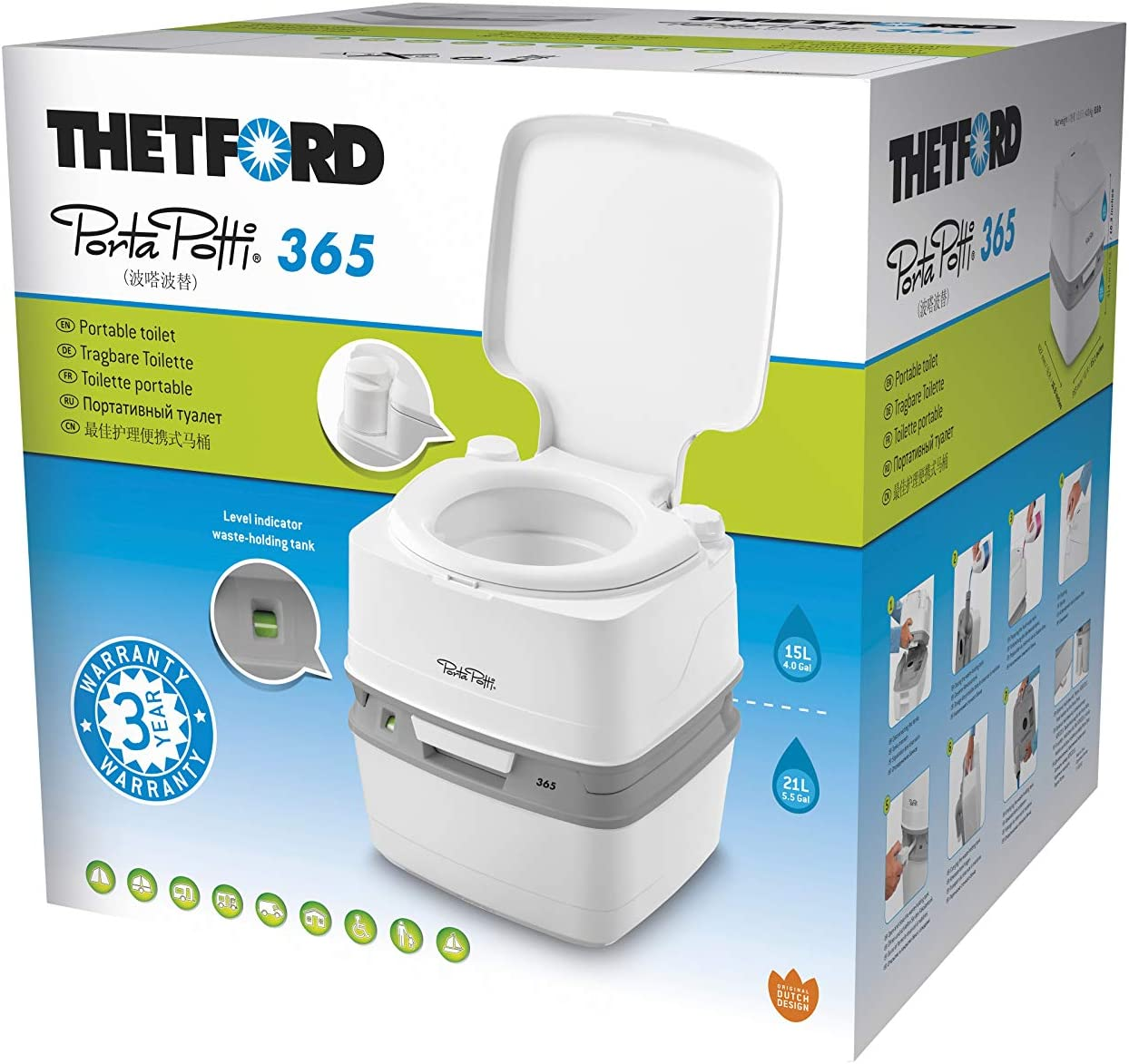 Thetford 92820 Porta Potti Qube 365, blanco - blanco, 414 x 383 x 427 mm