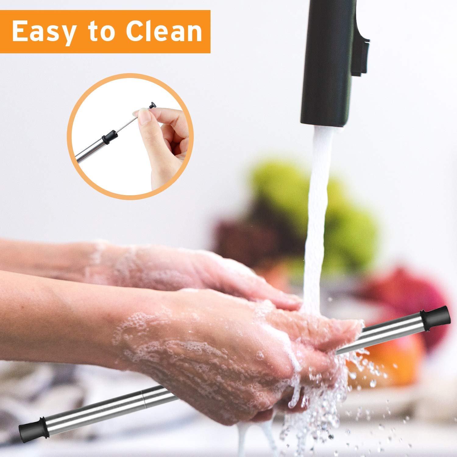 Collapsible Metal Straws with Carrying Case Reusable Drinking Straws Portable Set with Cleaning Brush Composed of stainless steel and Food-grade Silicone Straw For Party Travel Household Outdoor etc