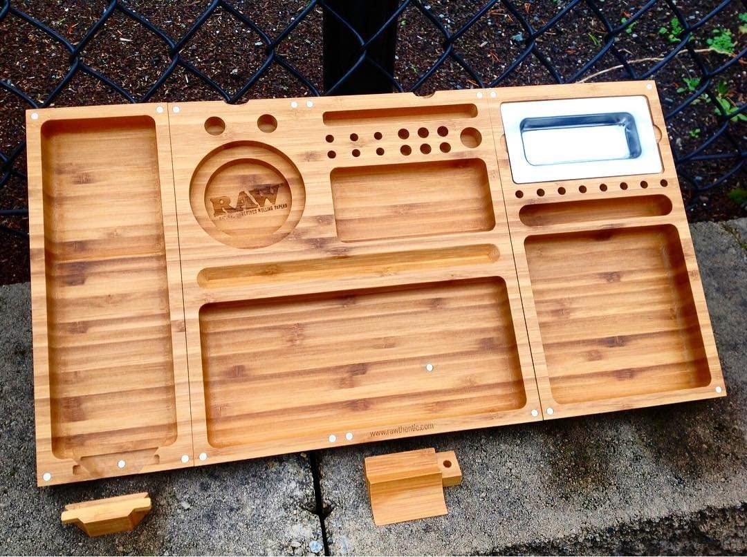Raw Wooden Triple Flip Tray Magnetic Rolling Al sold Same day shipping out.