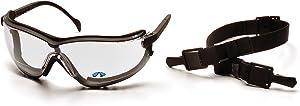 Pyramex Safety V2G Readers Eyewear, Black Strap/Temples, Clear +1.5 Anti-Fog Lens