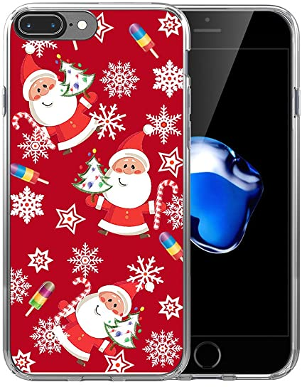 finest selection cfd54 3690f Case for iPhone 8 Plus Christmas Santa/IWONE Designer Rubber Durable  Protective Skin Cover Compatible for iPhone 7/8 Plus + Christmas Theme  Design ...