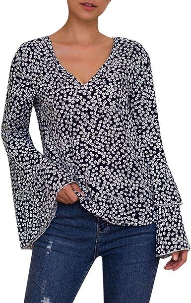 Blusas Casual Mujer Blusas Estampado Floral Mangas Largas Camisetas Cuello V Elegante Otoño Invierno Camisa Tops Shirt Originales para Fiesta Oficina Trabajo RISTHY: Amazon.es: Ropa y accesorios