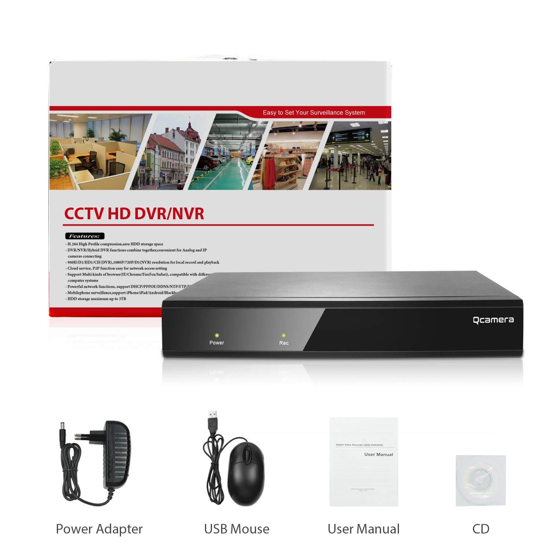 NO HDD Q-camera 4CH 5MP Full HD H/íBrido Ahd//Tvi//Cvi//Anal/óGico//Onvif Ip Dvr H.265 Cctv Grabador De Video P2P Remoto Para C/áMara De Sistema De Vigilancia De Seguridad Para El Hogar