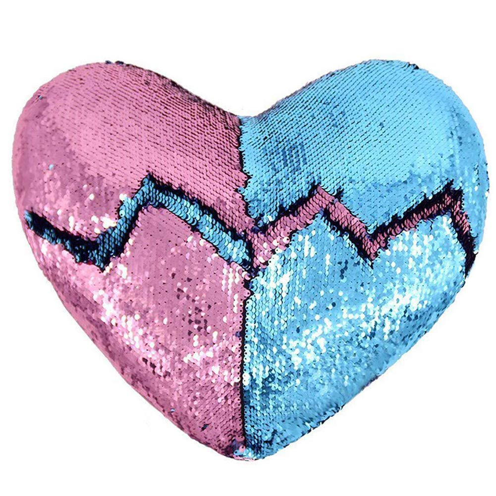 Heart Shape Sequin Pillow with Insert Mermaid Reversible Color Change Throw Shiny Two Color Flip Cushion Magic Write On Girls Gift Bolster for Sofa Couch Bedroom Car 14'' x 15.5'',Blue and Pink