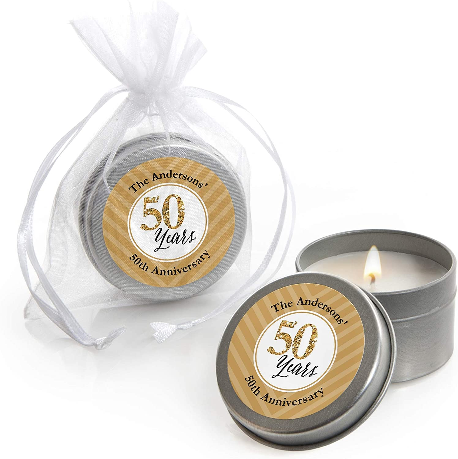 Travel Candle Wedding Personalized Wedding Favors Bridal Shower Party 60 Gold Travel Tin Candles