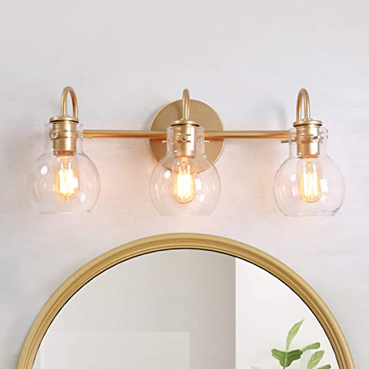 LALUZ Bathroom Light Fixtures, Gold Vanity Light Fixture with Clear Glass Shades for Bathroom, Powder Room, L 22