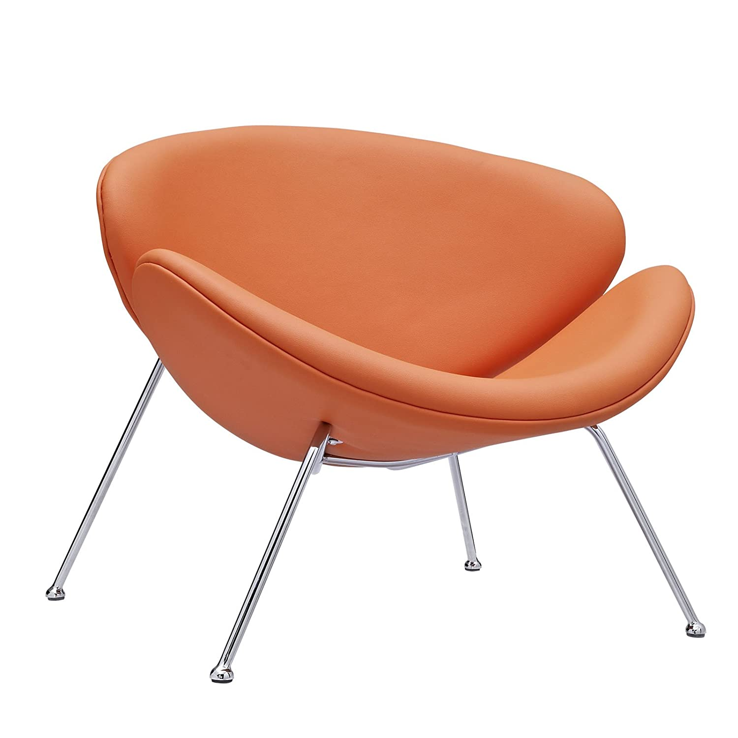 amazoncom modway nutshell midcentury style lounge chair in orange vinylorange kitchen u0026 dining