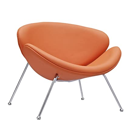 Modway Nutshell Mid Century Modern Faux Leather Lounge Chair In Orange
