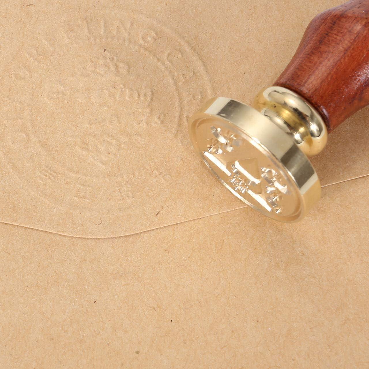Mangostyle Vintage-Stil Wachs Siegelstempel Dekorativer Siegel Petschaft Holzgriff Brief 26 Buchstabe Siegel Set A-Z