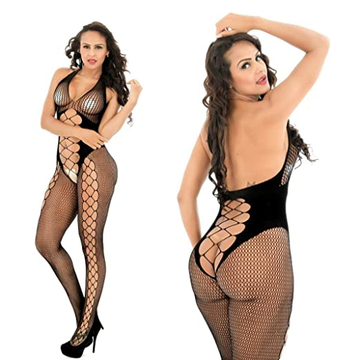 29e635359 Amazon.com  Vovotrade Women Open Crotch Bodystockings Perspective Print Underwear  Fishnet Pajama Sleepwear (Black)  Clothing