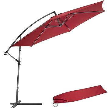 TecTake 3,5m Sombrilla parasol de aluminio para terraza jardín protección solar UV burdeos