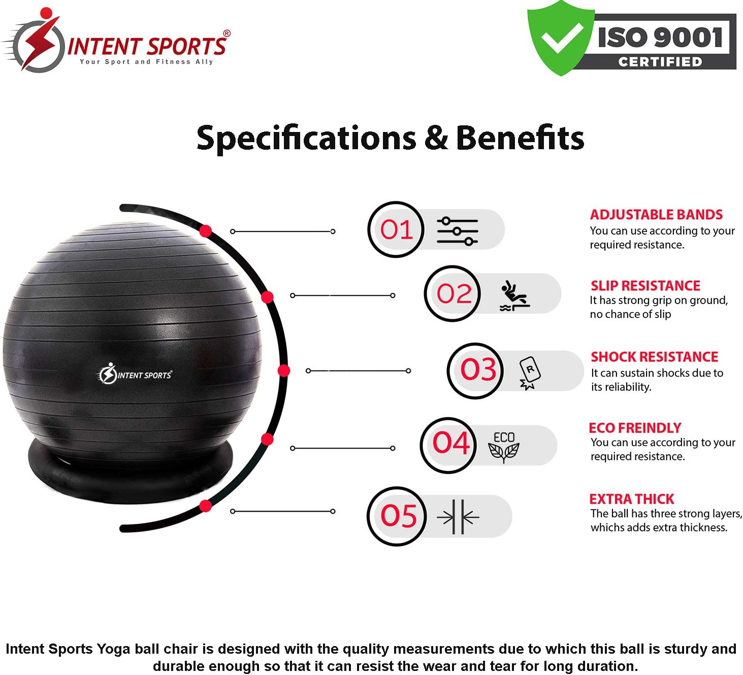 INTENT SPORTS Yoga Ball Chair – Stability Ball with Inflatable Stability Base & Resistance Bands, Fitness Ball for Home Gym, Office, Improves Back ...