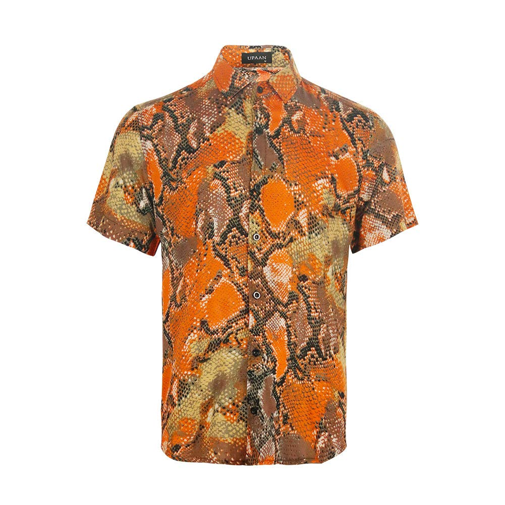 UPAAN Short Sleeve Shirt Men Snakeskin Printed Disco Shirts Button Down Casual Shirt Orange by UPAAN