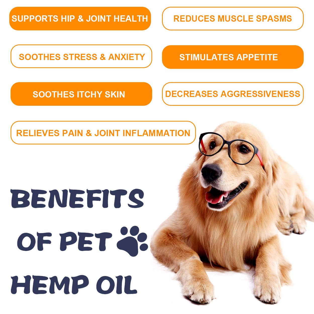Nevissbags Hemp Oil for Dogs & Cats (3000mg), Pain Anxiety Relief for Pets - 100% Natural Organic Hemp Herbal Extract, Supports Hip & Joint Health - Pet Omega 3, 6, 9 - Made in USA