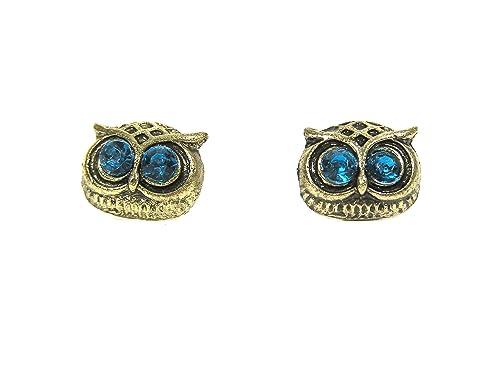Owl Head Stud Earrings Crystal EB04 Gold Tone Bird Blue Crystal Pave Posts