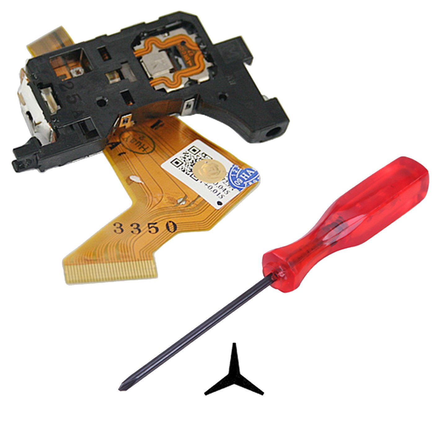 HDE Complete Disk Read Error Fix Kit for Nintendo Wii Gaming System - Replacement Laser Lens + Tri-Wing Y-Tip Screwdriver