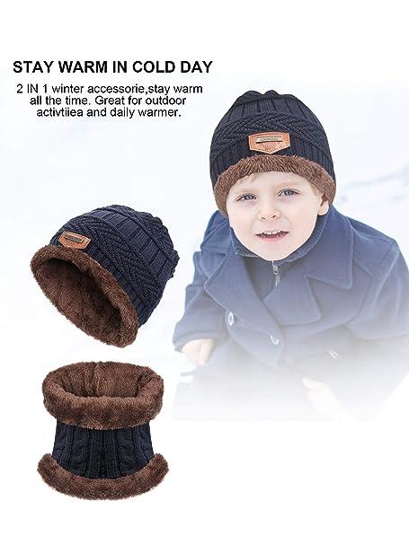 Zhanmai 4 Pezzi Inverno Caldo Berretto a Maglia Cappello e Scaldino del  Collo Sciarpa Set per 5-14 Anni Bambini Ragazzo Ragazza (Grigio 5a120a525438
